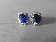 18k Gold Sapphire and Diamond Cluster Earrings