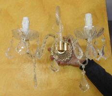 appliques to 2 lights made in Italy, late 20 century murano glassware