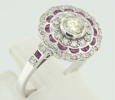 14 kt white gold ring in Art Deco style set with rubies and old Amsterdam cut and single cut diamonds, ring size 17.25 (54)