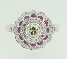 White gold 14 kt ring in Art Deco style, set with ruby and old Amsterdam cut and octagon cut diamonds.