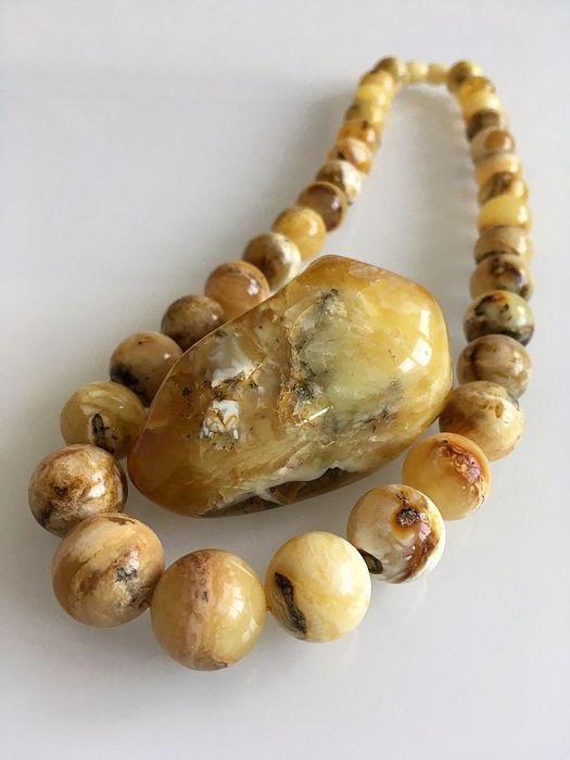 Natural real Baltic amber necklace, marbled butterscotch