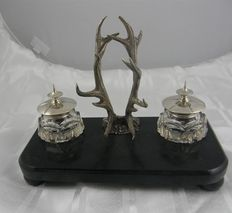 Ink set with crystal jars with silver lids and silver antlers, Van Kempen, Voorschoten, late 19th century