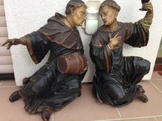 Rare pair of monk figures made of wood - polychrome painted - ca 1850