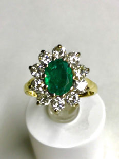 18ct yellow and white gold Emerald and diamond dress ring