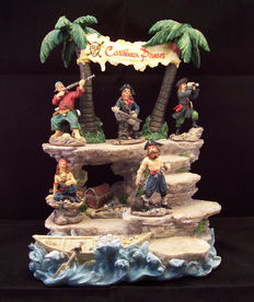 Treasure Island with 5 Pirate Figures - Made with resins.- Regency Art & Frame