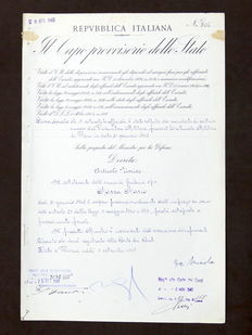 Decree signed by provisional head of the Italian State Enrico De Nicola - 1947