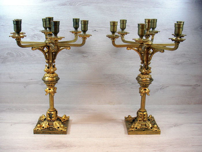 Set of two unique gilded bronze Church candlesticks-Netherlands- around 1880
