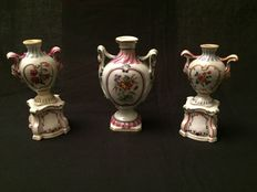 Three antique small porcelain vases