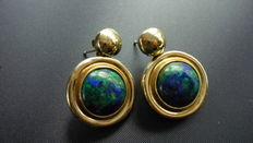14 kt yellow gold earrings set with azurite.