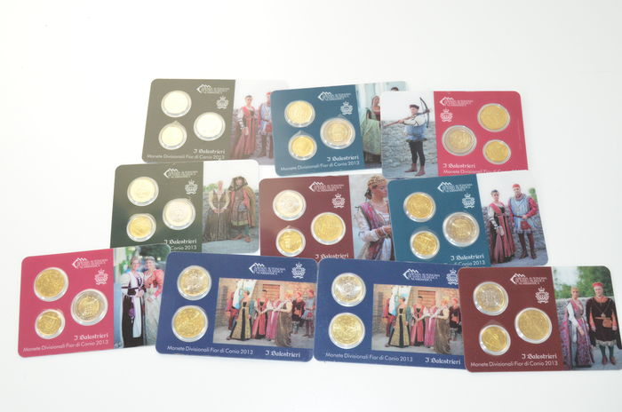 San Marino - various Euro coins 2013 (28 pieces in total) in 10 coin cards.