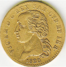 Kingdom of Sardinia, 1820 – 20 Lire gold coin, Turin Mint – Victor Emmanuel I