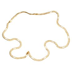 Yellow gold figaro link necklace of 14 kt – 56 cm