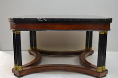 Square living room coffee table in Empire style with black marble top, 20th c.