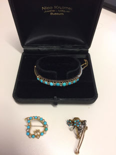 Very special Victorian bracelet + pin + brooch set including diamonds, pearls and gold from 1880-1895