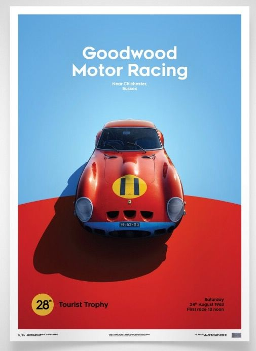 Ferrari Collection fine art print - Ferrari 250 GTO #4399GT - Goodwood tourist trophy Graham Hill- Red 1963  - 70 x 50 cm