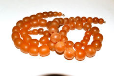 2 Antique old Baltic amber necklaces, antique butterscotch egg yolk vintage honey color