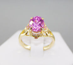 Big 12 ct. natural intence pink kunzite ring with diamonds and sapphires