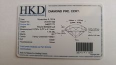 1.15 ct green-yellow diamond, HKD Canada certificate