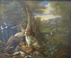 Adriaen de Gryef (1657-1722) - hunting scene with two dogs and hunters returning from the hunt