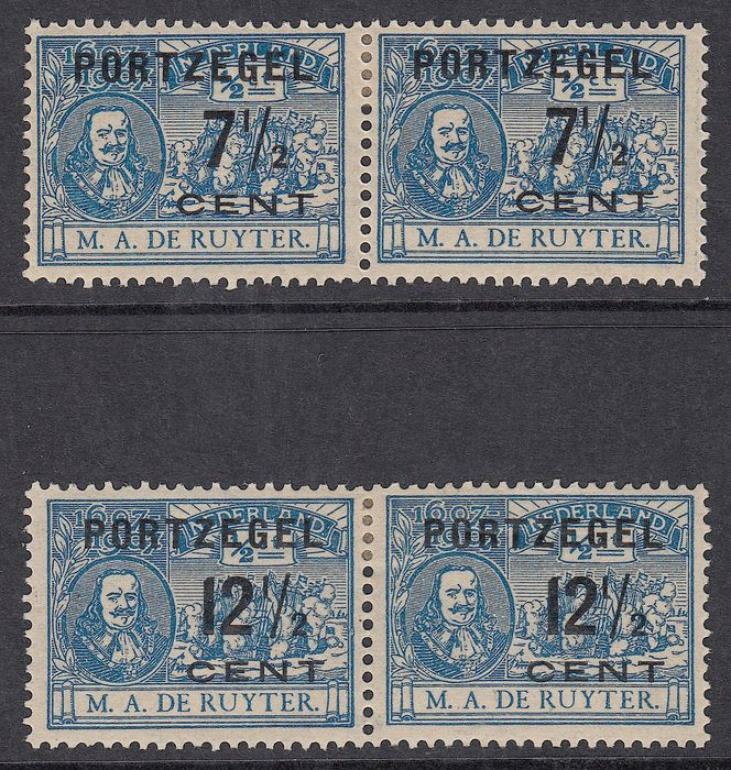 The Netherlands 1907 – postage due type I with type II correlating – NVPH P37b + P39b