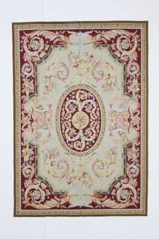Rare AUBUSSON carpet, 1980, Versailles style, 217 x 151 cm, wool and silk on cotton