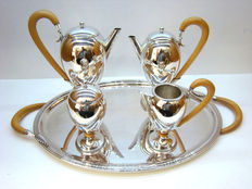 Silver tea/coffee set with wooden handles, Italy