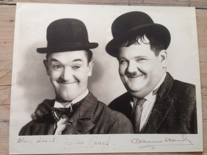 Laurel & Hardy - signed photo - Originally signed by Stan Laurel and Oliver Hardy - with PSA document