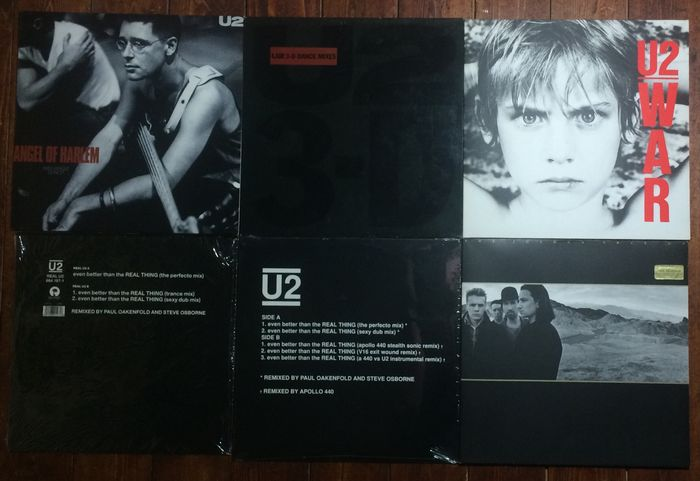 """U2 - Lot with 6 Records from Germany, USA and UK. 12"""" Promo's, LP's & 12""""."""