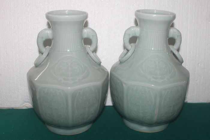A Pair Of Chinese Celadon Vases China Second Half 20th Century