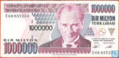 Turquie 1 Million Lira ND (1995/L1970) P209a1