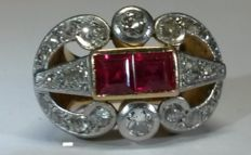 Gold and platinum Chevalier ring with diamonds, 1.10 ct in total, and rubies