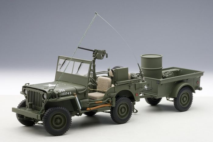 2016 Jeep Truck >> AUTOart - Schaal 1/18 - Jeep Willys Mb Usa Army 1941 With Trailer - Exceptional collector Model ...