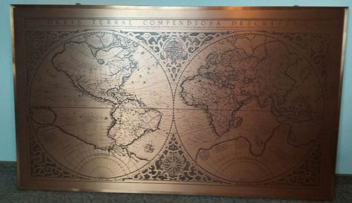 1587 World Map.Old Huge Copperplate Engraving World Map By Gerard Mercator 1587