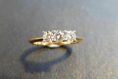 18k Gold Diamond Three-stone Ring, 1.20 ct - size 52