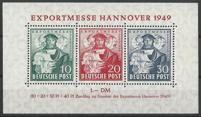 Bizone 1949 hannover messe souvenir sheet michel for Hannover souvenirs