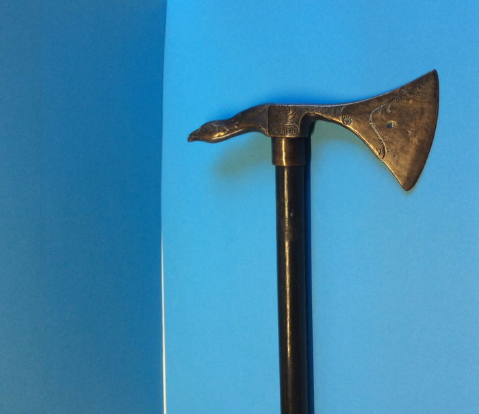 Blackened wooden axe cane with bronze bird's head as handle - Hungary - 19th century