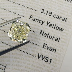 GIA 3.18 ct Radiant Natural fancy yellow  VVS1 diamond