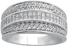 No reserve price, brand new white gold 18 kt ring – 1.25 ct total weight, round brilliant and princess cut G/H colour and SI clarity – Ring size 53.8 / 17.1
