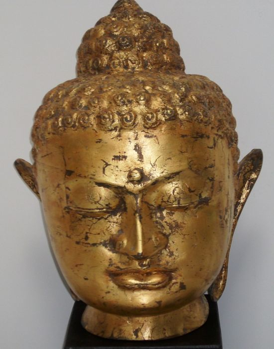 Large bronze Buddha head with gold leaf - Thailand - second part 20th century