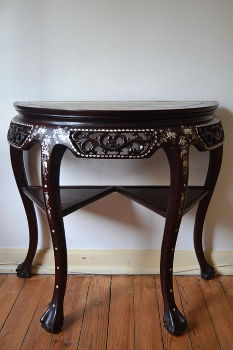 A Half Moon Table In Rosewood Inlaid In Mother Pearl And Marble Top   China