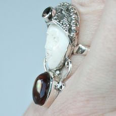 Carved Bali Face Ring Made Of Camel Bone With Fire Agate Catawiki