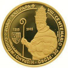Portugal - 5 Euro 2005 '800th Anniversary Birth of Pope John XXI' in capsule - gold