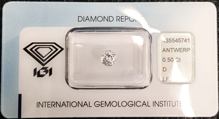 IGI Sealed 0.50 Carat Natural D color IF Clarity Loop Clean Flawless diamond