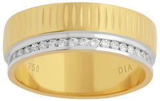 18 kt two tone white and yellow gold CNC machine made eternity wedding band set with round brilliant diamonds. 0.20 ct., G/H colour and SI clarity size N/ 54