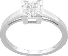 No reserve price, brand new 0.25ct princess cut 'Invisibility' set gold engagement ring, G colour, SI clarity, size 54/N set in 18kt white gold