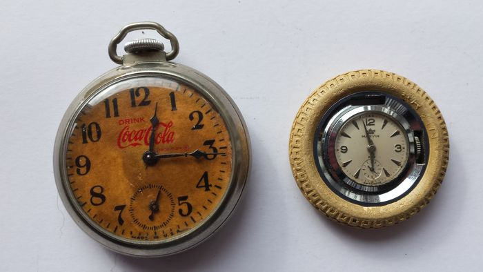 coca cola pocket watch from the forties and k l m watch from the fifties brand marvin catawiki. Black Bedroom Furniture Sets. Home Design Ideas