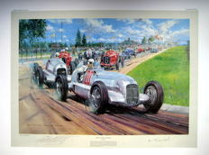 "Fine Art Print - "" Birth of the Silver Arrows"" Mercedes-Benz W25 Nürnburgring June 3rd 1934 : Artist Nicholas Watts"