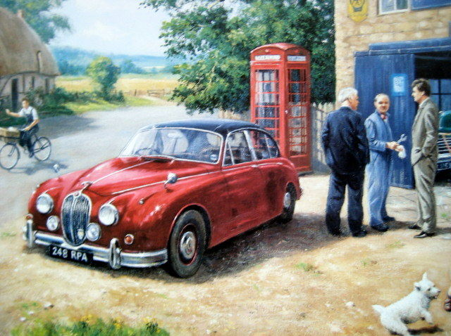 """Best Endeavour"" -  Inspector Morse and Sergeant Lewis Jaguar Mk. 2 (car no. 248 RPA ) - Fine Art Print"