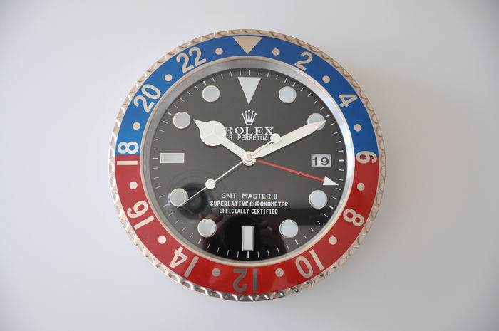 Rolex wall clock GMT , Master II in Pepsi colours with dates