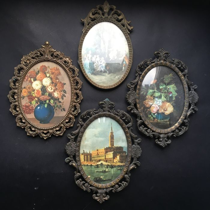 A collection of four decorative metal miniature frames - Catawiki
